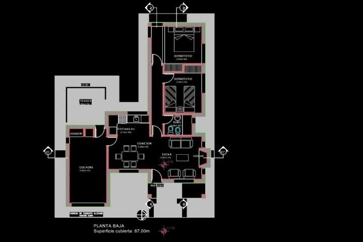 planos de casa de campos en autocad