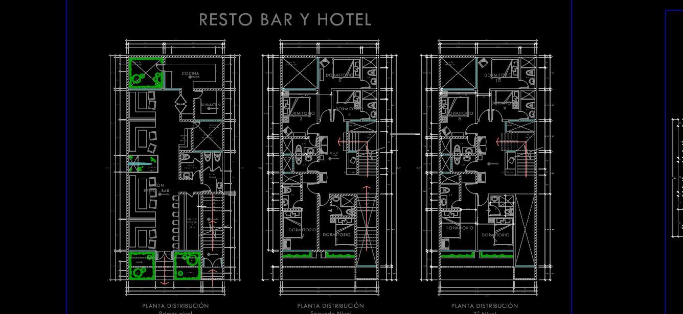 Planos de Hotel, Bar y restaurante